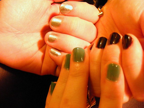 Green, silver and black nails