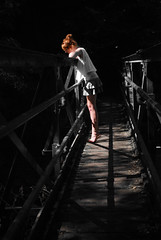 Bridge 1 (AliPainter) Tags: bridge shadow summer sunlight water girl lines dark pretty pattern looking thoughtful spotlight fairy tiptoes
