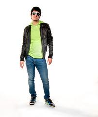 Neo Stance (Stephanie Wesolowski) Tags: blue light portrait orange white black male green sunglasses leather fashion standing pose studio stand hoodie neon background flash nick fulllength shades sneakers jeans jacket figure backdrop pumas simple source strobe finochio featuredonadidap