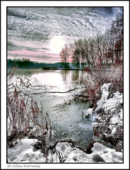 Winterscene HDR (Alex Verweij) Tags: winter sunset sun snow cold ice nature canon sneeuw freezing 1022mm edit almere ijs winterscene vorst cs4 potofgold 40d singlehdr alexverweij leeghwaterplas