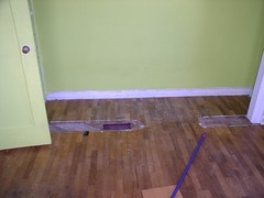 Damaged oak floor before (Imagination Unincorporated) Tags: olympia oakfloor floorrepair westolympia floorrefinish floorrestoration floorpatch woodfloorrepair