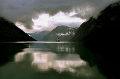 Morning light in the fjord (OndaNera) Tags: ocean morning light nature water norway landscape boat fjord heartaward platinumheartaward panoramafotogrfico naturesanct