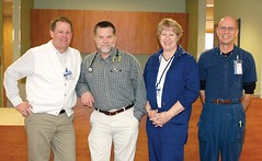 Burns-Hines VA Clinic staff include, from left, Clinic Manager/Social Worker Steve Bull, Dr. Tom Fitzpatrick, LPN Diane Brinkley and RN Steve Hagan. (Photo by LAUREN BROWN)