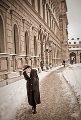 old lady walking in snow with eyes closed (mfellnerphoto (off)) Tags: schnee winter cold hat munich mnchen deutschland hut oldpeople klte