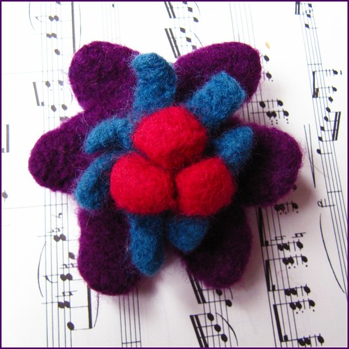felted flower brooch
