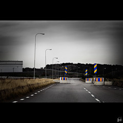 Rndm I (martin fredholm) Tags: road autumn signs speed gteborg industrial suburban sweden empty older 2008 limit remake reduce quadtone obstacles cisterns hisingen torshamnen