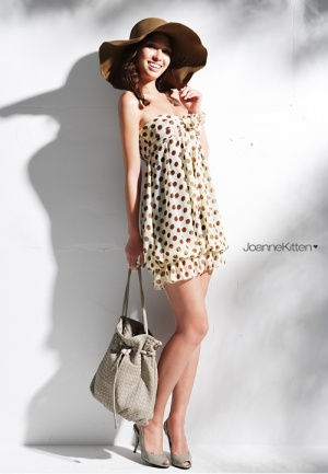 coffee coloured polka dot mini dress