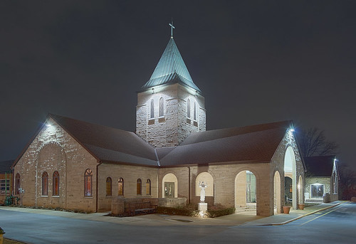 Saint Monica Roman Catholic Church, in Creve Coeur, Missouri, USA - exterior at night