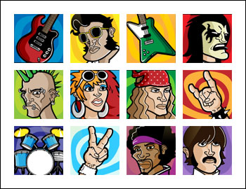 free Rock On slot game symbols