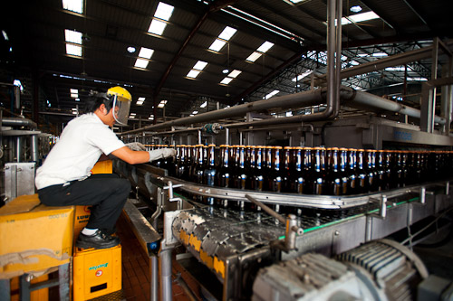 Inside the Beerlao factory outside Vientiane, Laos