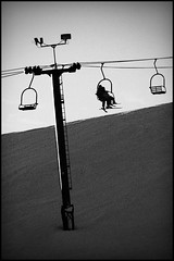 lutsen mountain ski lift minnesota (Dan Anderson (dead camera, RIP)) Tags: winter blackandwhite bw mountain snow ski cold skiing lift steel hill cable run powder aerial downhill resort alpine northshore area tramway chairlift lutsen