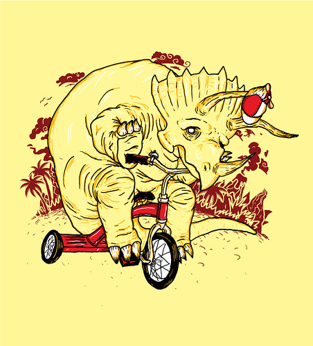 Triceratops riding a Tricycle