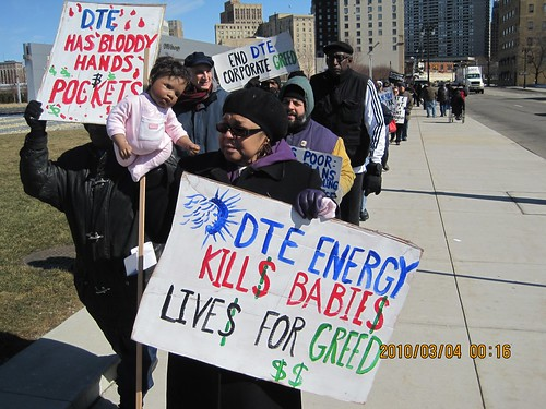 Demonstration outside DTE Energy headquarters in downtown Detroit on March 4, 2010. Two children had just died in the city after their home's power was just off by the energy supplier. (Photo: Amina Tabia) by Pan-African News Wire File Photos