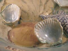 Ceramics (CarolMunro) Tags: blue red shells green yellow oregon ceramics goldfish plate bowl rainy carol poppy sunflower jar pottery lid wildfire munro rgtmum