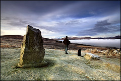 Acharn Stone - Me & Finn (angus clyne) Tags: morning winter light mist snow sunrise dawn scotland frost sheep ben angus perthshire hills tay crisp loch finn kenmore standingstone lawers acharn sheepshit justbeforetheendlesswinter