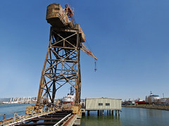 ironside crane panorama (pbo31) Tags: california old blue panorama color port march harbor spring big nikon rust marine ship crane large panoramic bayarea sail eastbay d200 shipping alameda alamedacounty 2010 portofoakland shipyards alamedaferryterminal