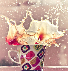 * My First Splash  ! (Nora YK) Tags: cup 50mm first nana splash coffe canon500