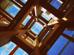 vestibule (DJHuber) Tags: wood light sky building window glass metal architecture university natural columbia british products northern atrium administration manufactured unbc vestibule