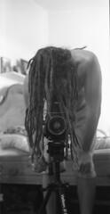 dread-full self-portrait (danegermouse) Tags: portrait bw selfportrait mamiya film dreadlocks self 35mm conversion apx100 135 agfa dreads xtol rb67 agfapan