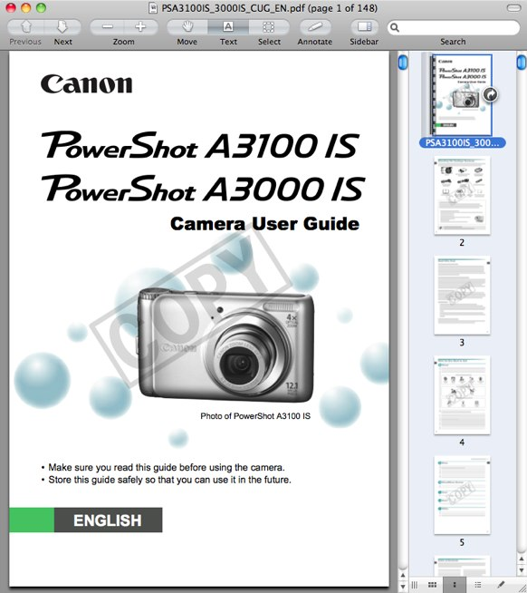 Canon A3000 IS Manual