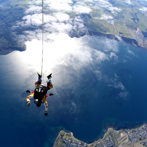 Jared Meadors of Medusa Properties Houston skydiving over Lake Taupo in New Zealand