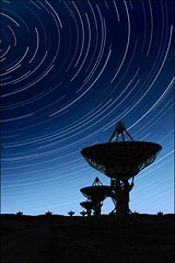 gazing upwards (sharply_done) Tags: new blue sky silhouette night radio stars mexico star long exposure dish very satellite large trails telescope dishes nm telescopes socorro vla array sharplydone