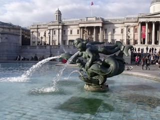 Dolphins, mermaids and mermen -  Fountains in Trafalgar Square, London