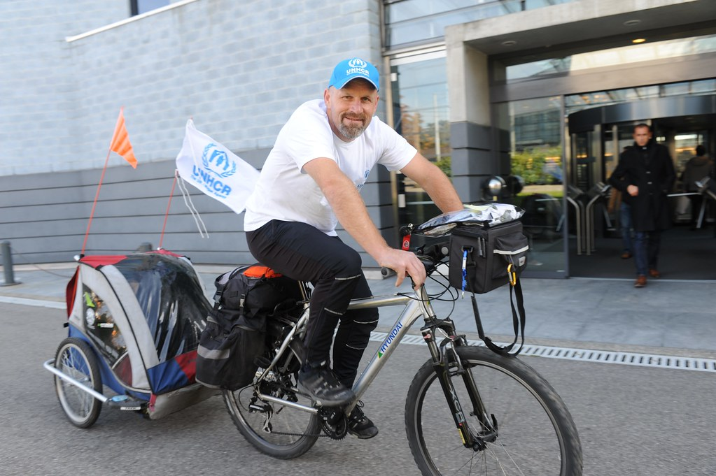 UNHCR News Story: Q&A: Norwegian bikes to South Africa for refugee awareness in run-up to World Cup