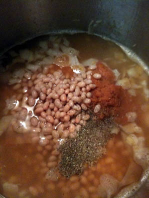 Making Tuscan Pumpkin Bean Soup