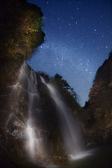 Three Milky  Ways (masahiro miyasaka) Tags: blue autumn winter sky white beautiful japan night canon stars wonder outdoors iso3200 star waterfall fisheye galaxy astrophotography  oneshot milkyway  startrail  cassiopeia  earthandsky  sigma15mmf28exdgfisheye  anawesomeshot eos5dmark