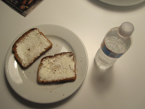 Toasts with cream cheese, orange water