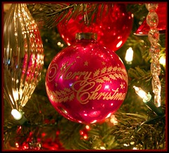 Stenciled Merry Christmas (contrarymary) Tags: christmas ornaments babbonatale joyeuxnol merrychristmas godjul greeting goodwishes goodwill greetings   weihnachten vrolijkekerstmis icicles feliznavidad froheweihnachten christmasdecorations christmaslights christmastree shinybrite vintagechristmas vintagetreasures holiday christmasornaments vintage pink vrolijkkerstfeest gesegneteweihnachten kitsch jolly joy hotpink holidays cottagedecor buonnatale
