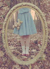 Reflecting Childhood ({peace&love}) Tags: blue red reflection bunny fall girl animal socks mirror high stuffed shoes child dress little oz wizard alice flats story wonderland past leafs pinkparis1233