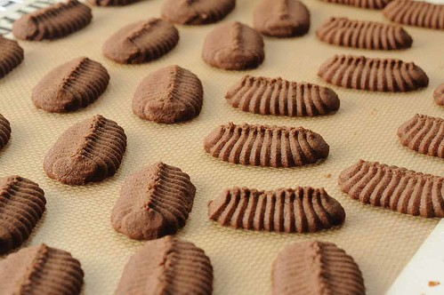 Homemade Chocolate Espresso Sandwich Cookies-- pressed onto a cookie sheet