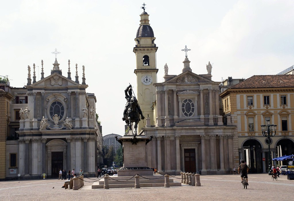 Torino, Piazza San Carlo, Caval d'Brons, Chiesa di Santa Cristina und Chiesa di San Carlo Borromeo (St. Christina Church and St. Charles Borromeo Church)