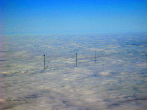 Houston radio and TV transmitters poking through the clouds in Missouri City