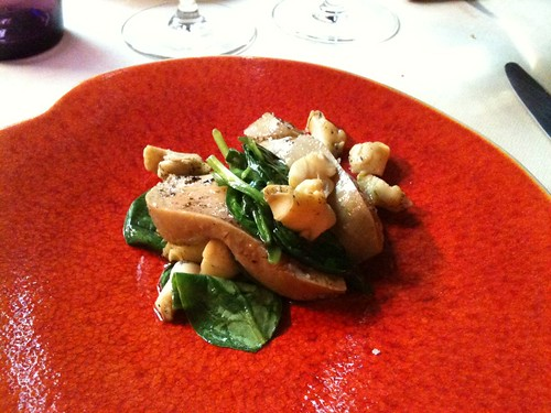Yam'Tcha: Landes foie gras with whelks (bulots) and spinach