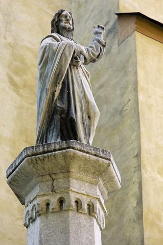 Jesus Christ statue on tall pillar