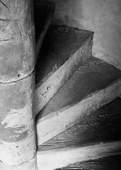Upwards (TXphotoblog) Tags: wood blackandwhite building church sanantonio stair texas sanjose chapel structure mission oldbuilding
