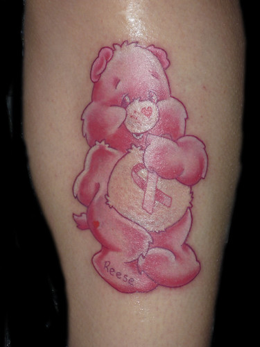 Care bear Tattoo, Breast cancer Tattoo, by Lucky Bamboo Tattoo
