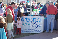 Sherry Welsch, Arizona Right to Life Office Manager, assists interested guests at the Arizona Right to Life Booth
