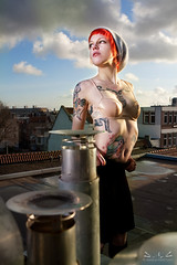 Nya - Amsterdam mijn vriend (P_mod) Tags: roof hat amsterdam tattoo clouds ink bra redhair nya pmod