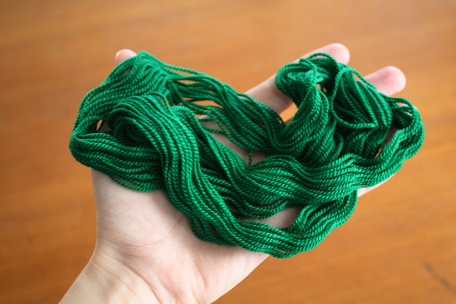 kelly green merino wool thread