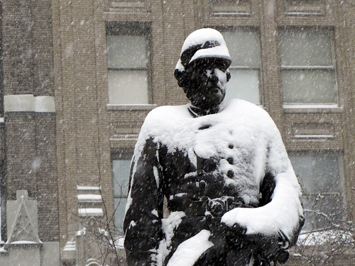 David Glasgow Farragut Statue covered in Snow in Madison Square Park - New York City (NYC) - February 2010