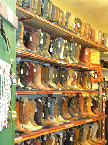 Cowboy boots lined the wall of this shop