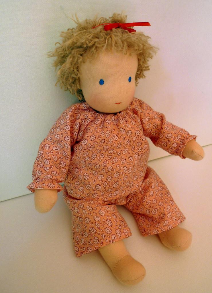 Mia's baby Sally in her pyjamas