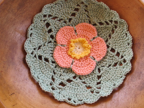 Wild Rose dishcloth