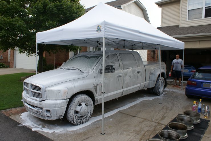 ram 3500 with thick layer of foam under canopy