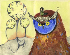 Owl and his girl (fake glue) Tags: moleskine drawings tempera liner ballpointpen colorpencils watercolourpencils