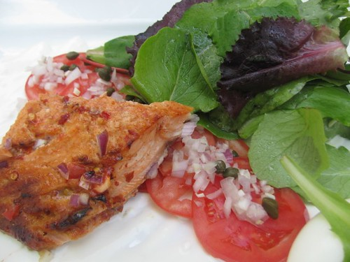Salmon Salad -Lunch at Geordie's at Wrigley Mansion